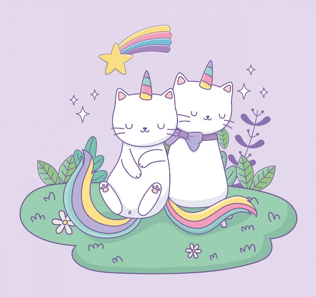 Cute cats with rainbow tail in the camp kawaii characters Premium Vector