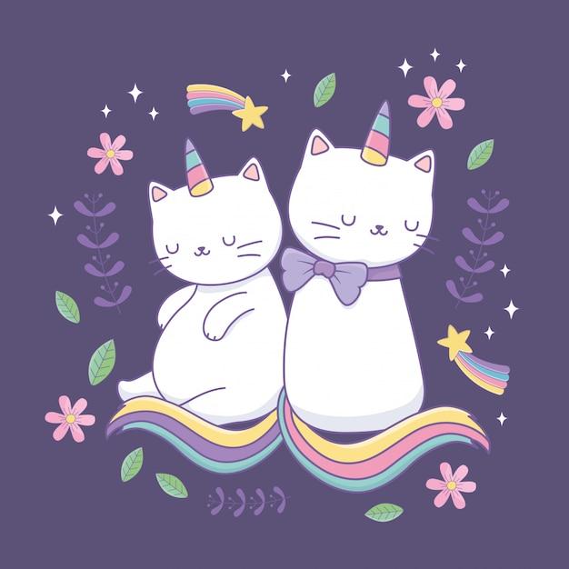 Cute cats with rainbow tail kawaii characters Premium Vector