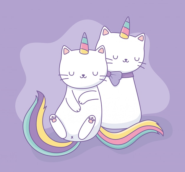 Cute cats with rainbow tail kawaii characters Premium Vector
