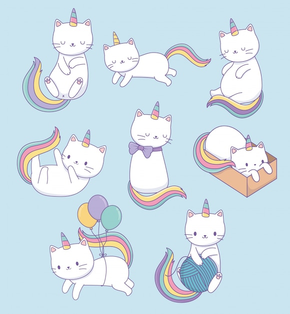 Cute cats with rainbow tails kawaii characters Premium Vector