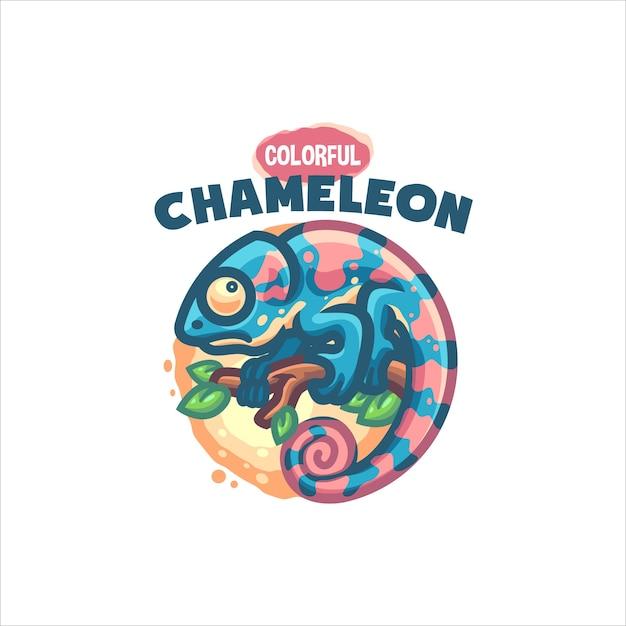 あなたの会社のためのかわいいカメレオン漫画のロゴ Premiumベクター