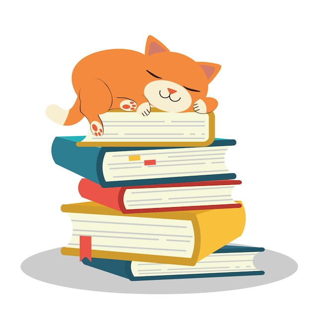 The cute character of cat sleeping on pile of book Premium Vector