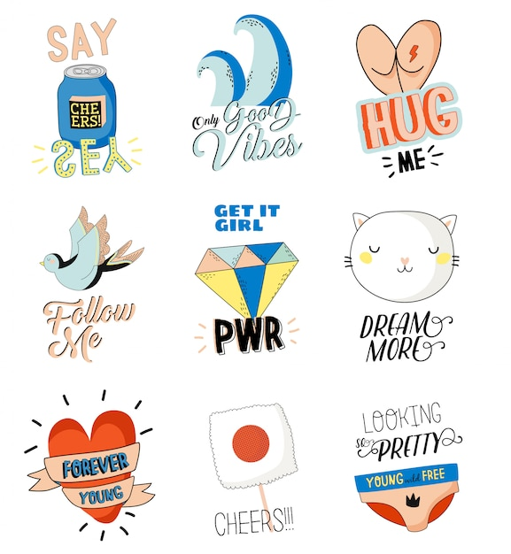 Cute character doodles for patches and stickers - creative set with trendy quotes and cool stylized elements. feminism girl power quote. cartoon style illustration in . Premium Vector