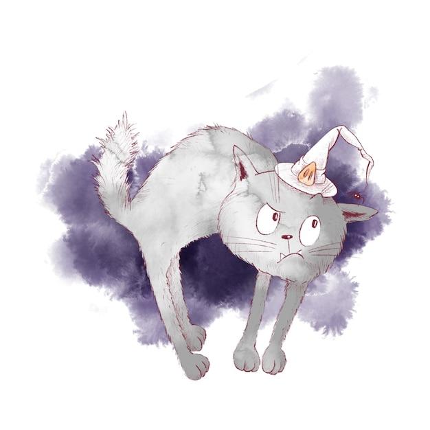 할로윈 귀여운 캐릭터 마녀 고양이 수채화 그림 프리미엄 벡터