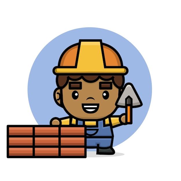 へらでレンガの壁を構築するかわいいキャラクタービルダー男 Premiumベクター