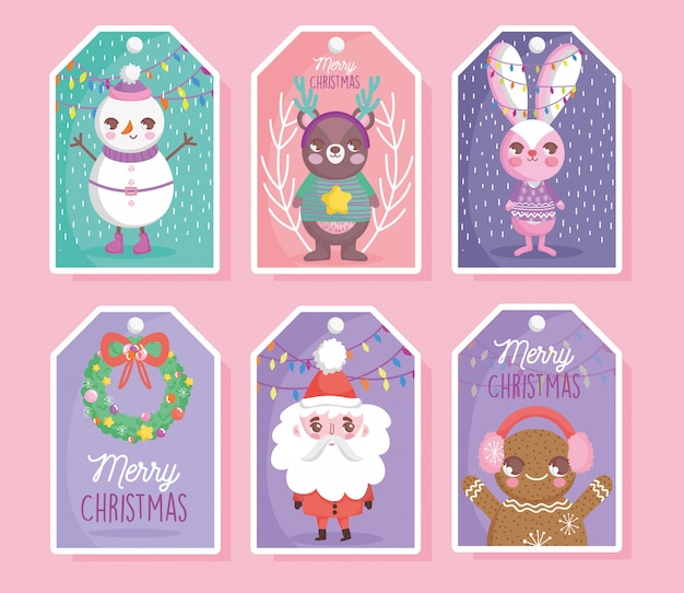 Cute characters happy christmas tags Premium Vector