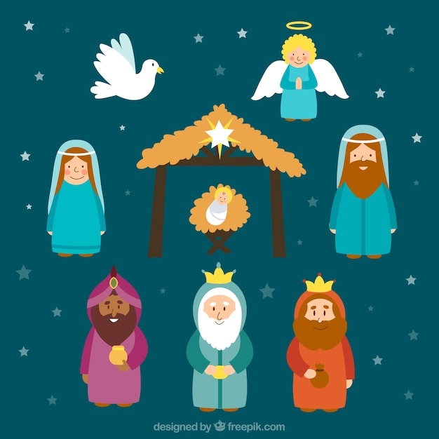 Cute Characters Nativity Scene Free Vector
