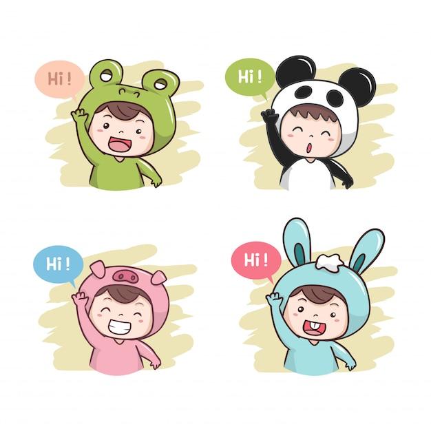 Cute characters say hi! illustration Premium Vector