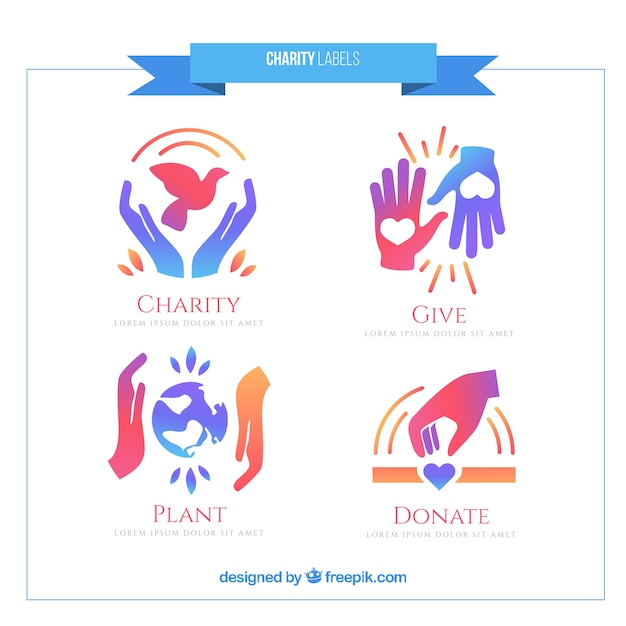 Cute charity labels set Free Vector