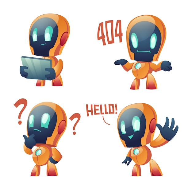 Cute chat bot cartoon collection Free Vector