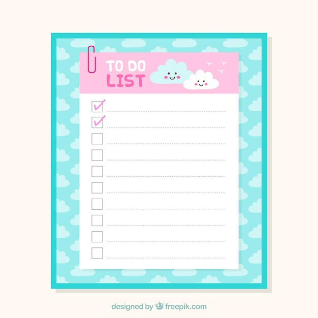 Cute checklist template with clouds in flat design Free Vector