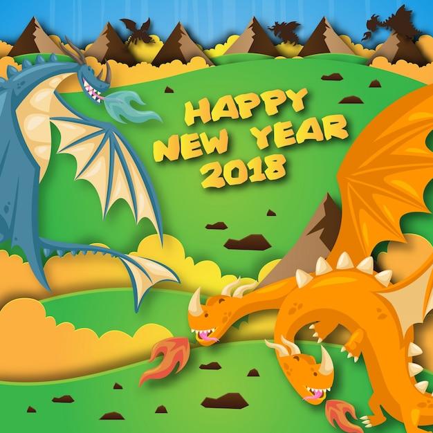 cute cheerful dragon theme happy new year 2018 paper art card illustration premium vector