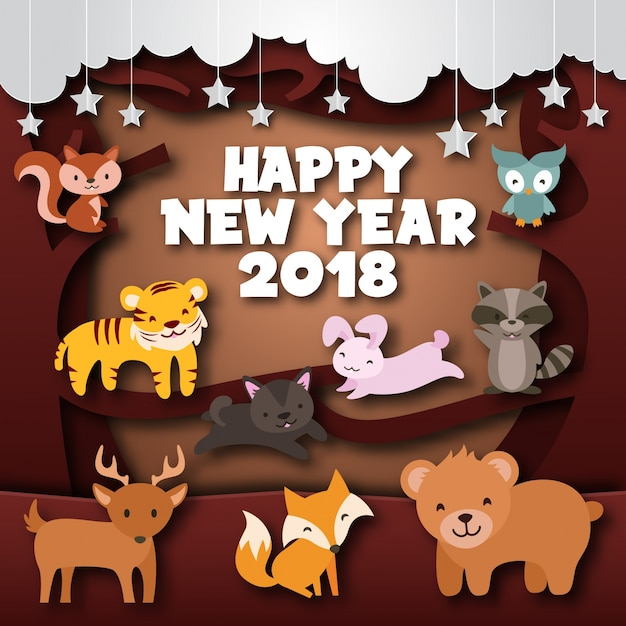 cute cheerful forest wild theme happy new year 2018 paper art card illustration free vector