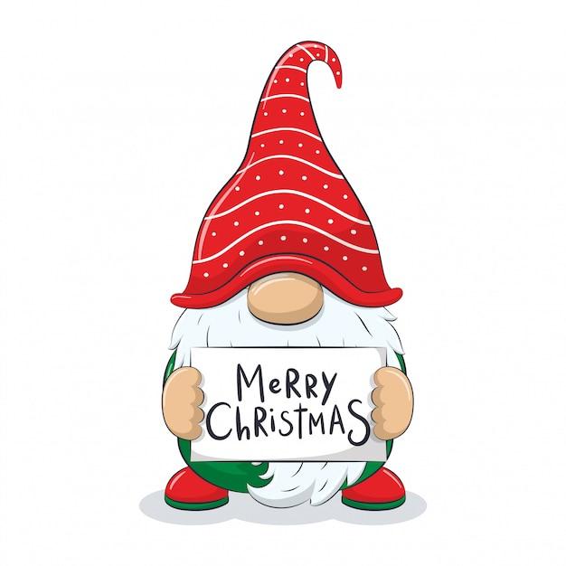Милый веселый гном с фразой «с рождеством». Premium векторы