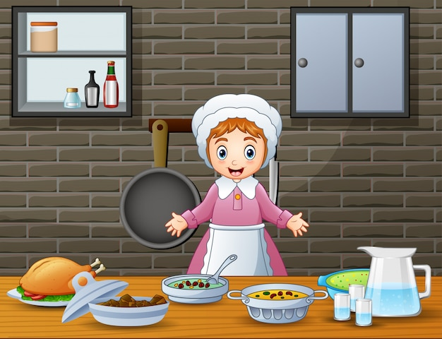 Cute cheerful woman cooking and preparing food in the kitchen Premium Vector