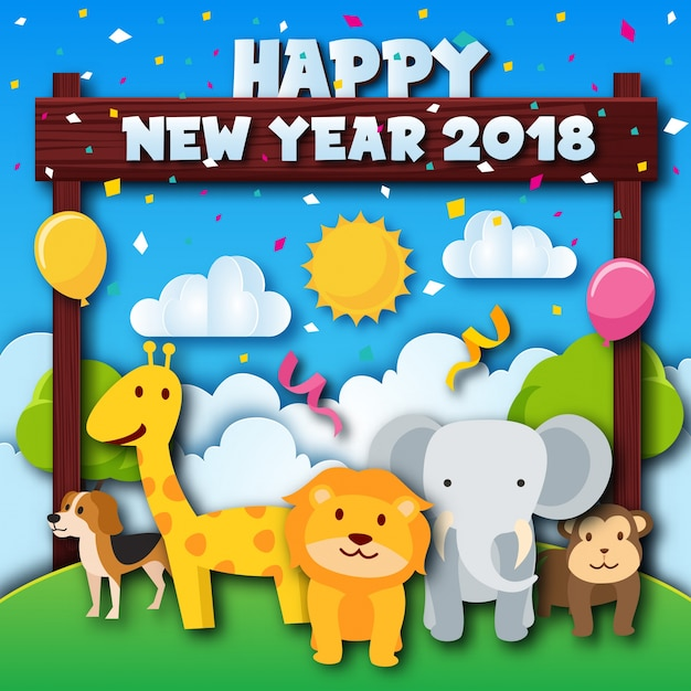 cute cheerful zoo animal theme happy new year 2018 paper art card illustration free vector