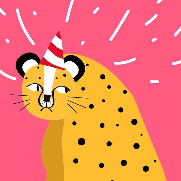 Cute cheetah wearing a party hat vector Free Vector