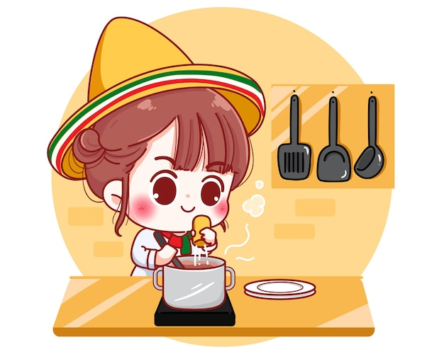 メキシコの自宅のキッチンで料理をするかわいいシェフ漫画のキャラクターイラスト 無料ベクター