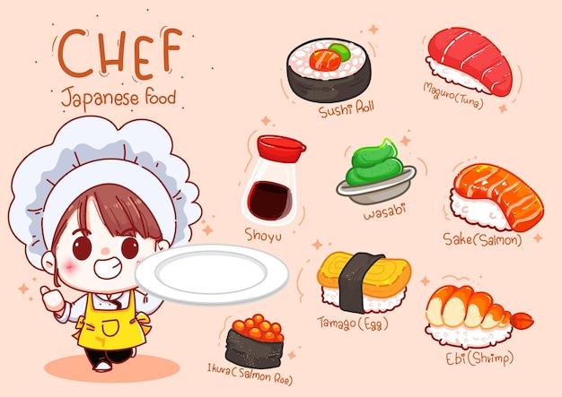 Симпатичный шеф-повар держит тарелку с суши, мультяшная японская еда Бесплатные векторы