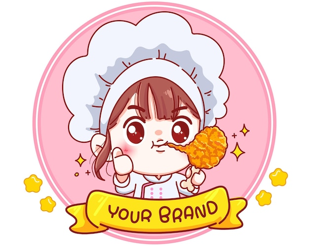 Cute chef holding fried chicken drumstick logo cartoon character illustration Premium Vector
