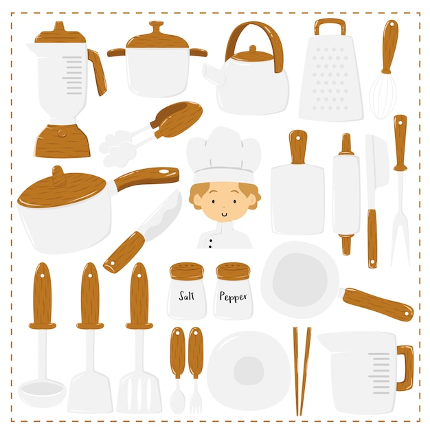 Cute chef and kitchen utensils, collection Premium Vector