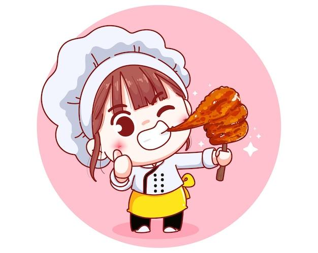 Cute chef with grilled skewered milk pork thai food cartoon illustration Free Vector