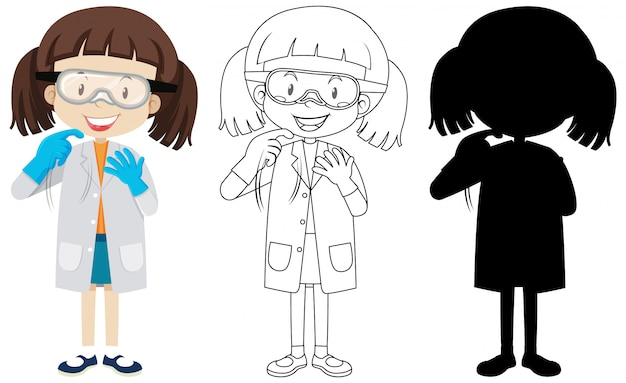 Cute chemist girl with its silhouette and outline Premium Vector