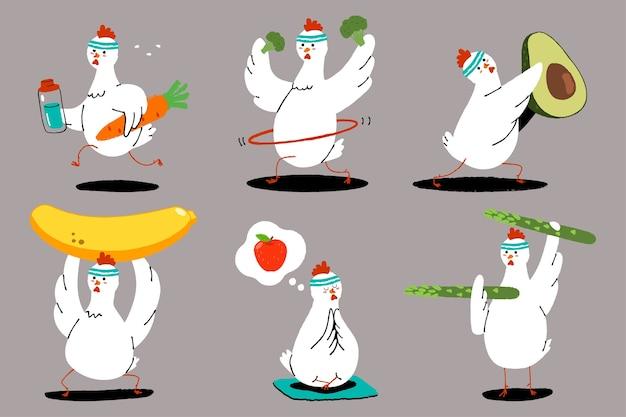운동을 하 고 귀여운 닭. 건강한 음식과 피트니스. 과일 및 야채 문자 세트와 함께 재미있는 새. 프리미엄 벡터