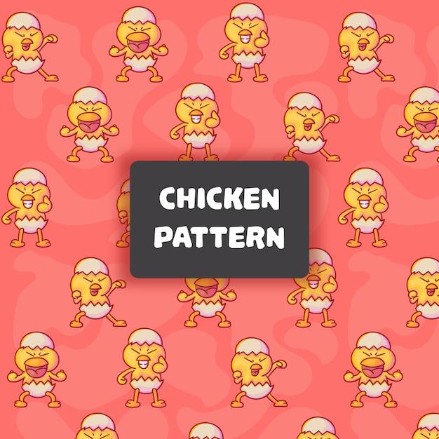 귀여운 닭 원활한 패턴 프리미엄 벡터