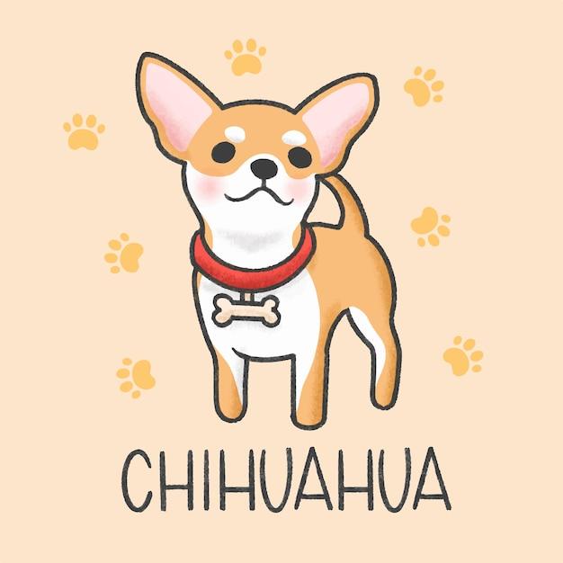 Cute chihuahua cartoon hand drawn style Premium Vector