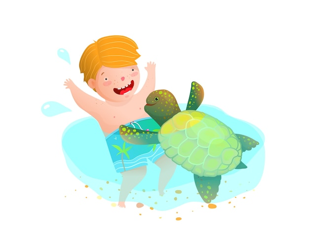 Cute childhood scene a kid and a turtle friends playing. watercolor style kindergarten or swimming snorkeling vacations cartoon. Premium Vector