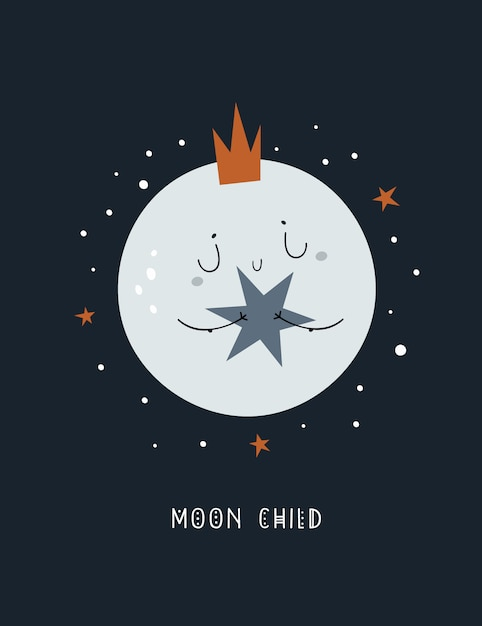 Premium Vector Cute Childish Cartoon Baby Moon In Crown With Star Huge collection, amazing choice, 100+ million high quality, affordable rf and rm images. https www freepik com profile preagreement getstarted 5506010