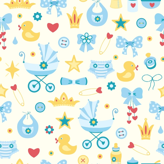 Cute childish seamless pattern with baby girl things. diaper, carriage, stroller, pin, Premium Vector