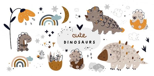 Милый детский набор с детенышами динозавров животных. коллекция дино Premium векторы