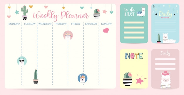 Cute childish weekly planner Premium Vector
