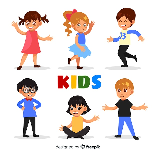 Cute children character collection in flat design Free Vector