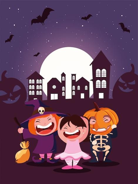 Cute children disguise in scene of halloween Premium Vector