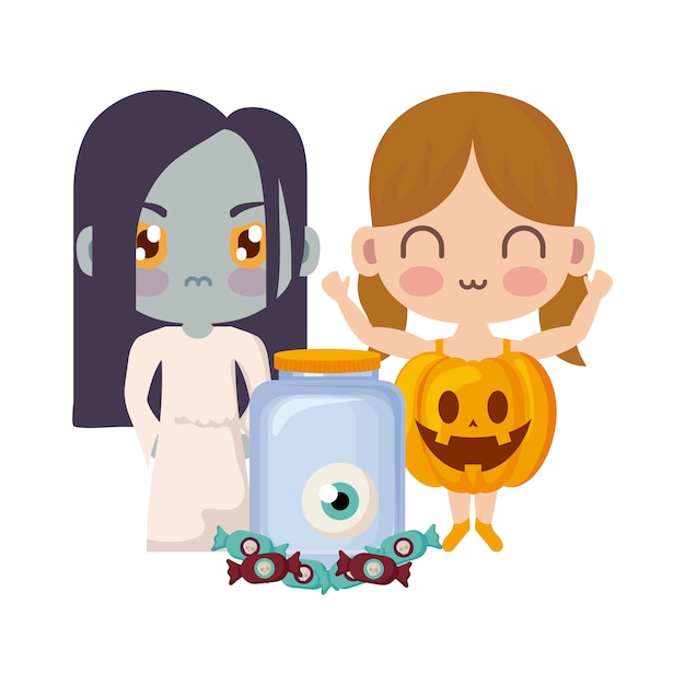 Cute children disguised in halloween Premium Vector