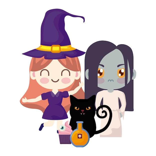 Cute children disguised in halloween Premium Vector