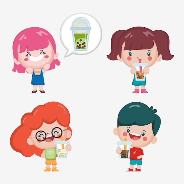 Cute children enjoy to drink taiwan bubble tea. Free Vector