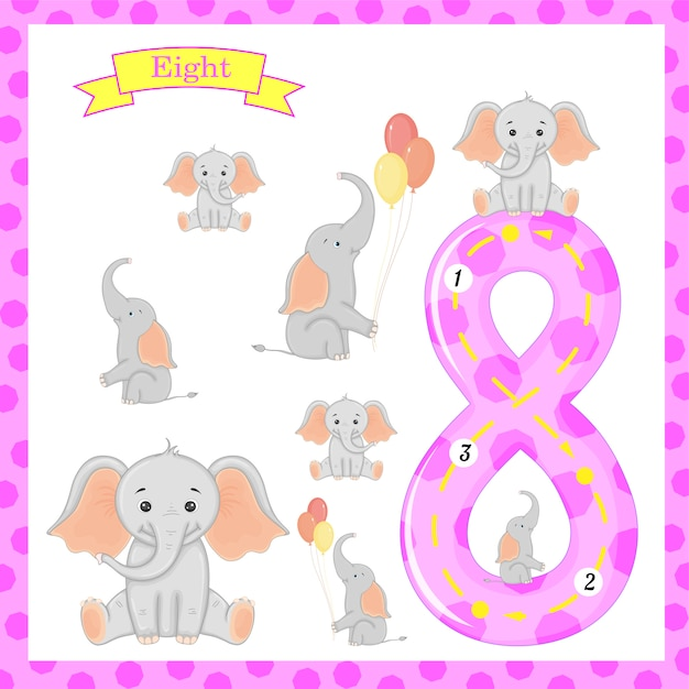 Cute children flashcard number eight tracing with 8 elephants for kids learning. Premium Vector