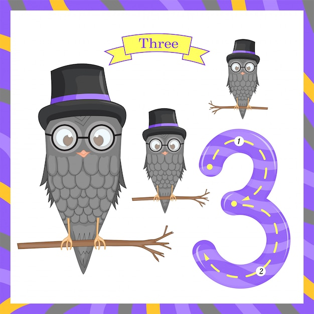 Cute children flashcard number one tracing with 3 owls for kids learning to count and to write. learning the numbers 0-10, flash cards, educational preschool activities, worksheets for kids Premium Vector