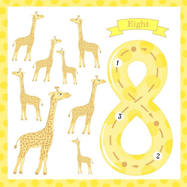 Cute children flashcard number one tracing with 8 giraffes for kids learning to count and to write. Premium Vector