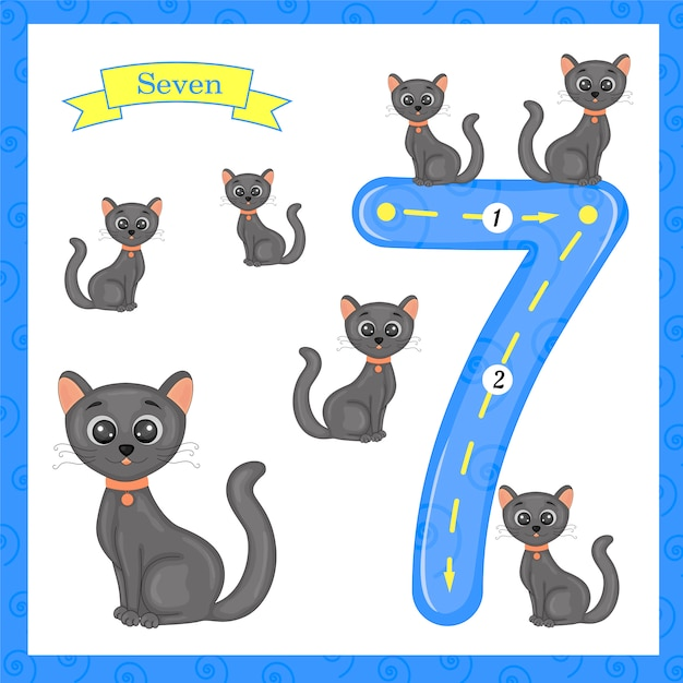 Cute children flashcard number seven tracing with 7 cats for kids learning to count and to write. Premium Vector