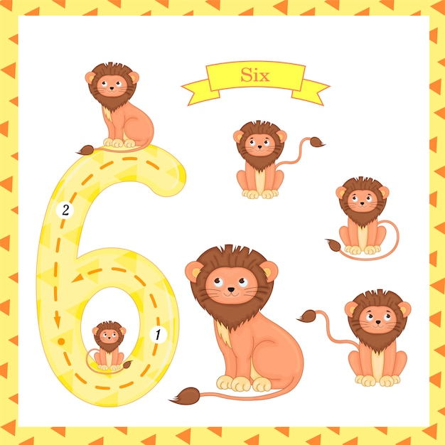 Cute children flashcard number six tracing with 6 lions Premium Vector