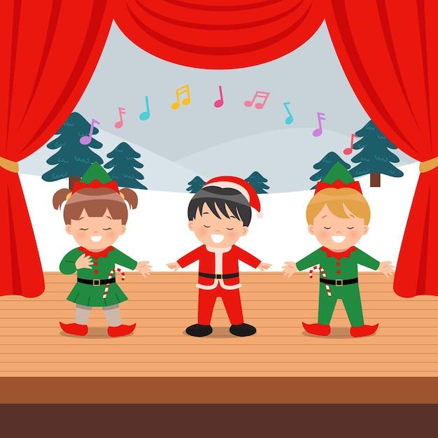 Симпатичные дети исполняют музыкальное мероприятие на сцене. Premium векторы