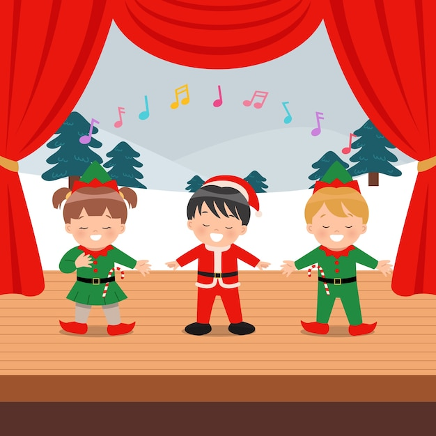 Cute children performing musical event on the stage. Premium Vector