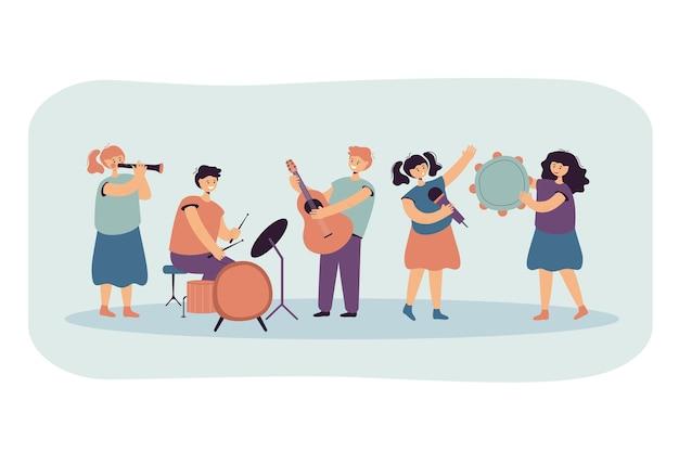 음악을 연주하고 평면 그림을 함께 노래하는 귀여운 아이들. 무료 벡터