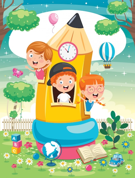 Cute children playing at pencil house Premium Vector