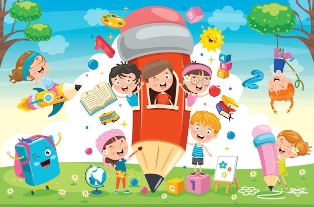 Cute children playing at pencil house | Premium Vector